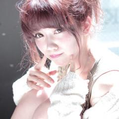 セミロング かわいい 大人かわいい ピンク ヘアスタイルや髪型の写真・画像