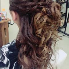 大人女子 ハーフアップ ヘアアレンジ 女子会 ヘアスタイルや髪型の写真・画像