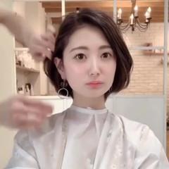 ショート オフィス デート 簡単ヘアアレンジ ヘアスタイルや髪型の写真・画像