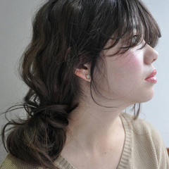 ナチュラル 大人かわいい セミロング ショート ヘアスタイルや髪型の写真・画像