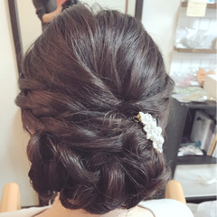 黒髪 エレガント 結婚式 ミディアム ヘアスタイルや髪型の写真・画像