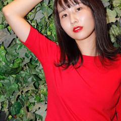 外ハネ ストレート 赤茶 ミディアム ヘアスタイルや髪型の写真・画像