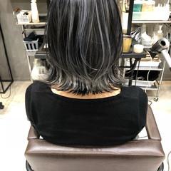 バレイヤージュ ナチュラル アンニュイほつれヘア ボブ ヘアスタイルや髪型の写真・画像
