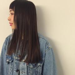前髪あり 暗髪 ハイライト ロング ヘアスタイルや髪型の写真・画像