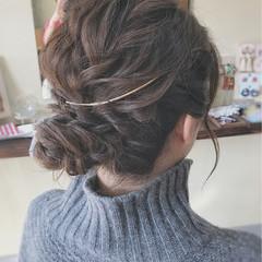 ミディアム フェミニン 結婚式 ヘアアレンジ ヘアスタイルや髪型の写真・画像