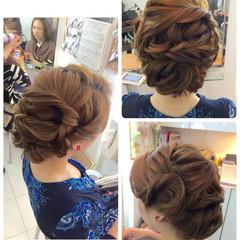 ヘアアレンジ パーティ ルーズ セミロング ヘアスタイルや髪型の写真・画像