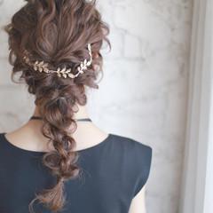 結婚式 フェミニン 簡単ヘアアレンジ セミロング ヘアスタイルや髪型の写真・画像