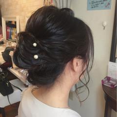 黒髪 フェミニン ロープ編み 結婚式 ヘアスタイルや髪型の写真・画像
