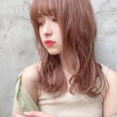 韓国ヘア セミロング アッシュブラウン ナチュラル ヘアスタイルや髪型の写真・画像