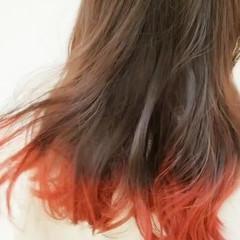 グラデーションカラー ストリート ミディアム ヘアアレンジ ヘアスタイルや髪型の写真・画像