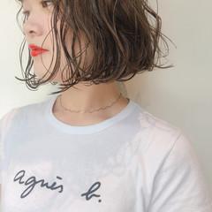 グレージュ  ボブ ナチュラル ヘアスタイルや髪型の写真・画像