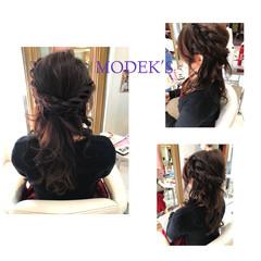 結婚式 ロープ編み ロング ヘアアレンジ ヘアスタイルや髪型の写真・画像