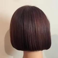 ボブ ショートボブ レッドブラウン チェリーレッド ヘアスタイルや髪型の写真・画像