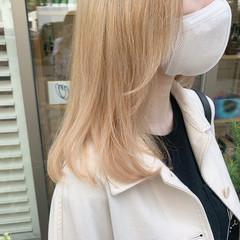 透明感 ブロンドカラー ストリート ミルクティーベージュ ヘアスタイルや髪型の写真・画像