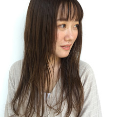 透明感 ウェットヘア ロング ストレート ヘアスタイルや髪型の写真・画像