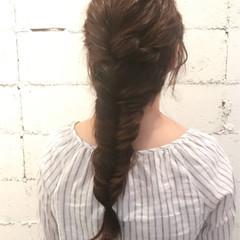 女子会 編み込み ロング ナチュラル ヘアスタイルや髪型の写真・画像