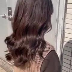 ゆるウェーブ ブラウン セミロング ショコラブラウン ヘアスタイルや髪型の写真・画像