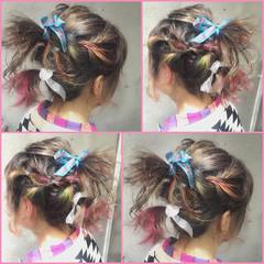 ハーフアップ ヘアアレンジ フェミニン グラデーションカラー ヘアスタイルや髪型の写真・画像