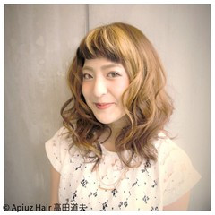 前髪あり 簡単ヘアアレンジ ガーリー ミディアム ヘアスタイルや髪型の写真・画像