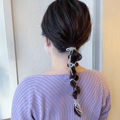 結婚式ヘアアレンジ 編みおろし 二次会ヘア リボンアレンジ ヘアスタイルや髪型の写真・画像