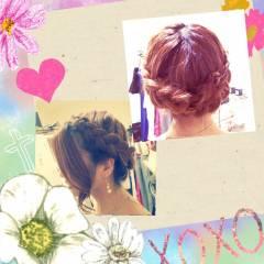 結婚式 編み込み ストリート ヘアアレンジ ヘアスタイルや髪型の写真・画像