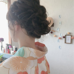 ヘアアレンジ 簡単ヘアアレンジ ゆるふわ ミディアム ヘアスタイルや髪型の写真・画像