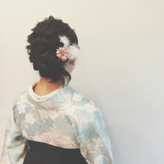 ヘアアレンジ 謝恩会 ゆるふわ ミディアム ヘアスタイルや髪型の写真・画像