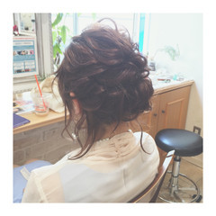 セミロング ヘアアレンジ 編み込み ショート ヘアスタイルや髪型の写真・画像