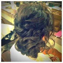 ガーリー アップスタイル ルーズ 編み込み ヘアスタイルや髪型の写真・画像
