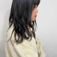 ブルーブラック 黒髪 ナチュラル 暗髪女子 ヘアスタイルや髪型の写真・画像