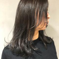 暗髪 透明感 グレー ナチュラル ヘアスタイルや髪型の写真・画像