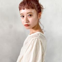 ヘアアレンジ ピンクブラウン 韓国 韓国ヘア ヘアスタイルや髪型の写真・画像