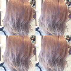 外国人風 ストリート セミロング ピンク ヘアスタイルや髪型の写真・画像