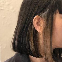 ナチュラル ハイライト インナーカラー ボブ ヘアスタイルや髪型の写真・画像