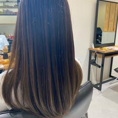 ナチュラル ロング ナチュラルブラウンカラー バレイヤージュ ヘアスタイルや髪型の写真・画像