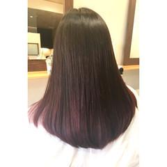 セミロング ストレート グラデーションカラー 外国人風 ヘアスタイルや髪型の写真・画像