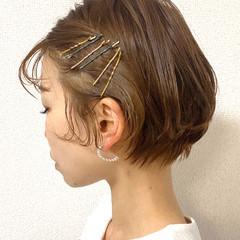 簡単ヘアアレンジ ナチュラル ショートボブ ショートヘア ヘアスタイルや髪型の写真・画像