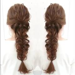 外国人風 フェミニン ヘアアレンジ 編み込み ヘアスタイルや髪型の写真・画像
