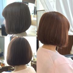 ピンク アッシュ ボブ ベージュ ヘアスタイルや髪型の写真・画像