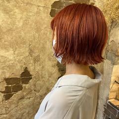ピンクベージュ ガーリー ブリーチカラー ミニボブ ヘアスタイルや髪型の写真・画像