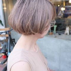 ブリーチオンカラー ナチュラル ブリーチカラー ミニボブ ヘアスタイルや髪型の写真・画像