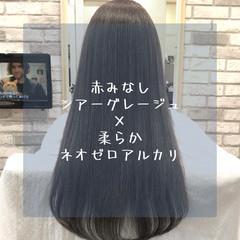 グレージュ 縮毛矯正 ストレート ナチュラル ヘアスタイルや髪型の写真・画像