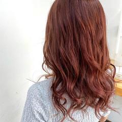 ピンク エレガント ロング オレンジ ヘアスタイルや髪型の写真・画像