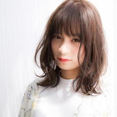 ミディアム フリンジバング 女子会 ガーリー ヘアスタイルや髪型の写真・画像