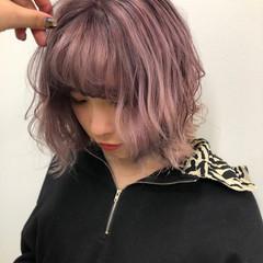 ボブ ラベンダーピンク フェミニン 暖色 ヘアスタイルや髪型の写真・画像