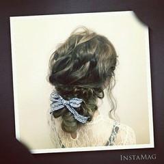 大人かわいい 編み込み ロング 結婚式 ヘアスタイルや髪型の写真・画像