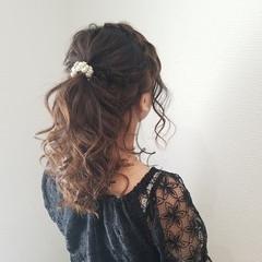 編み込み ヘアアレンジ フェミニン ポニーテール ヘアスタイルや髪型の写真・画像