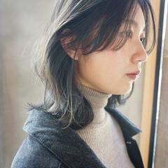 暗髪 ミディアム 透明感 くすみカラー ヘアスタイルや髪型の写真・画像