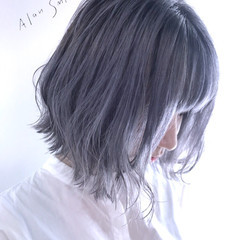 アッシュグレー グレー ボブ モード ヘアスタイルや髪型の写真・画像