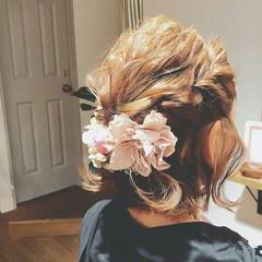 春 フェミニン ヘアアレンジ ボブ ヘアスタイルや髪型の写真・画像